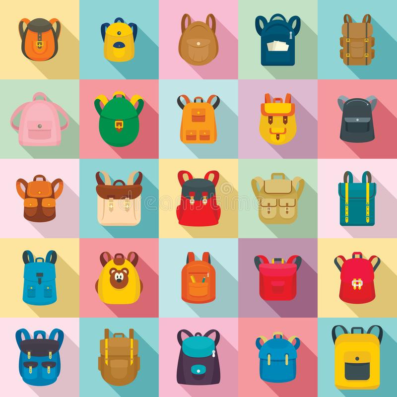 Plecak szkoły podróży sporta ikony ustawiać, mieszkanie styl royalty ilustracja