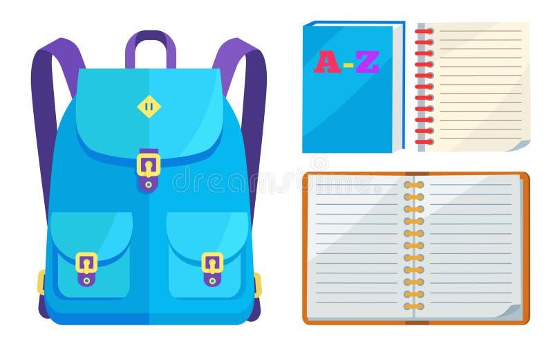 Plecak Unisex w błękitów kolorach z Dużymi kieszeniami ilustracja wektor
