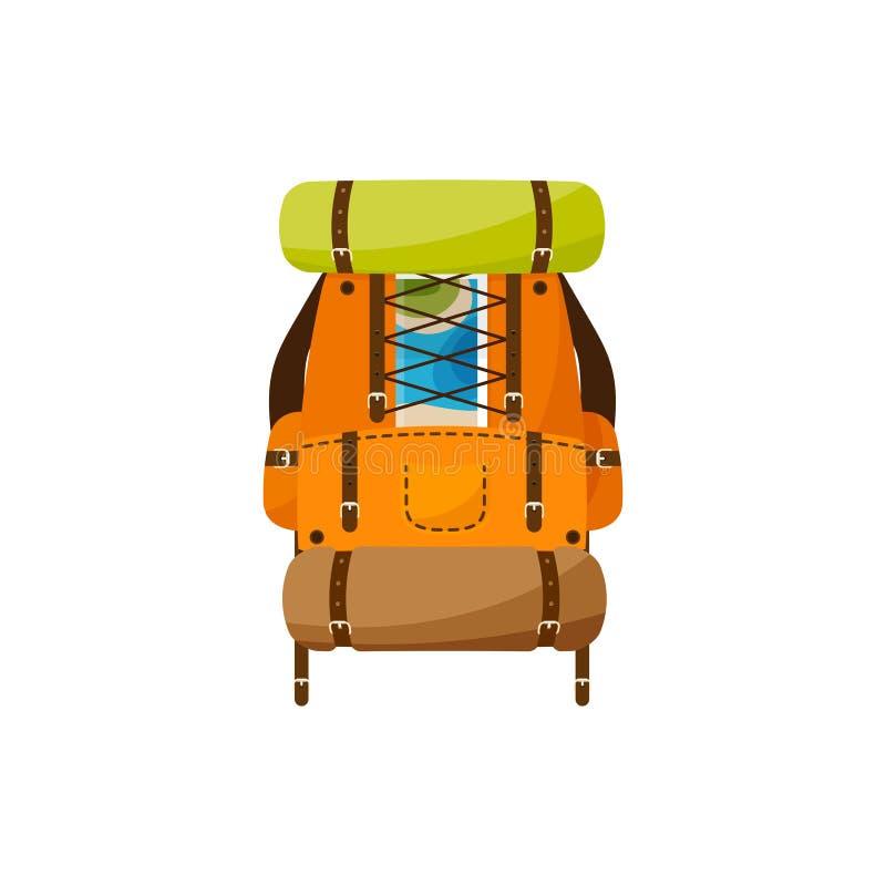 Plecak w płaskim stylu również zwrócić corel ilustracji wektora tła torby błękitny latanie opuszczać klon szkoły Podróż, camping  royalty ilustracja