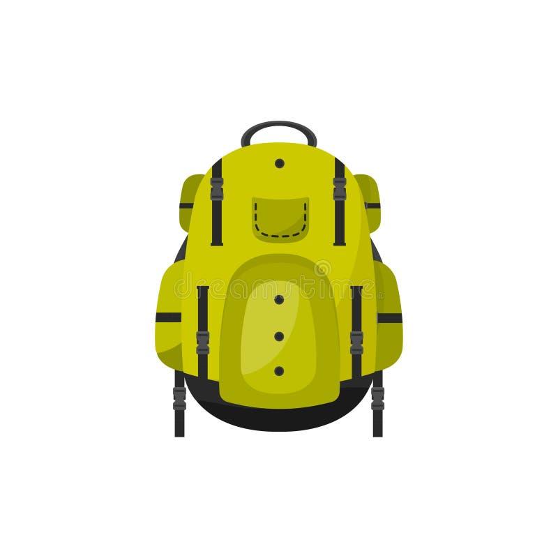 Plecak w płaskim stylu również zwrócić corel ilustracji wektora tła torby błękitny latanie opuszczać klon szkoły Podróż, camping  ilustracja wektor