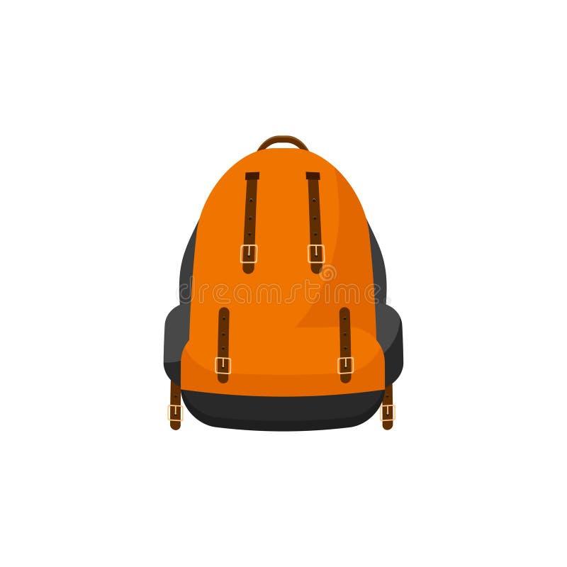 Plecak w płaskim stylu również zwrócić corel ilustracji wektora tła torby błękitny latanie opuszczać klon szkoły Podróż, camping  ilustracji