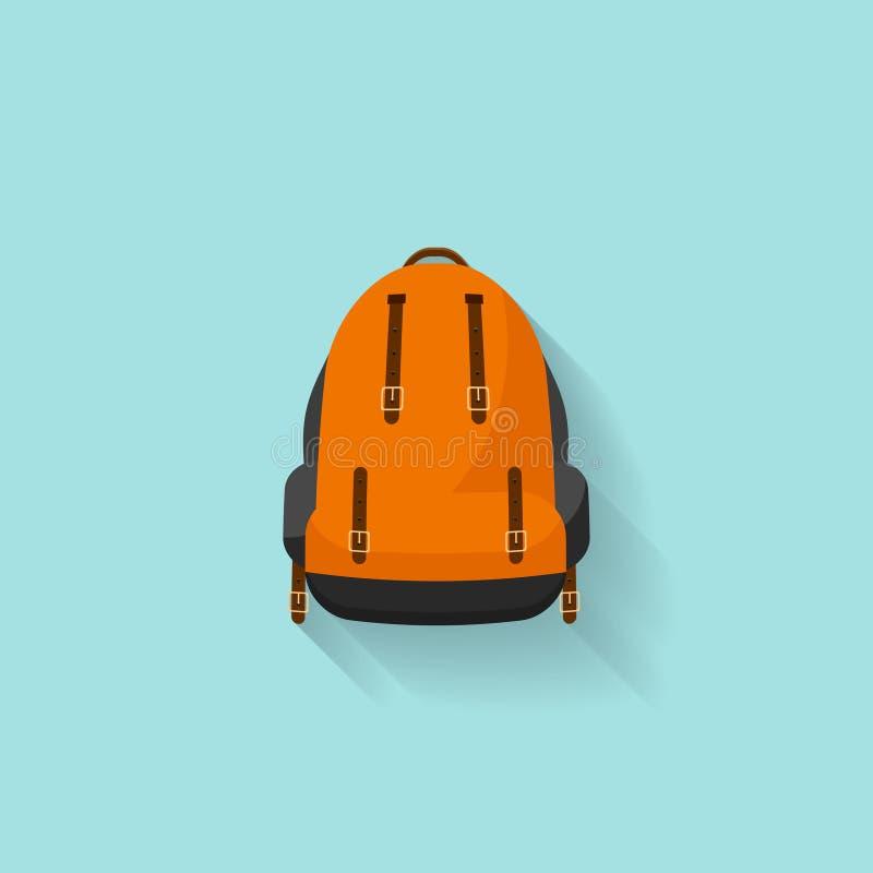 Plecak w płaskim stzle również zwrócić corel ilustracji wektora tła torby błękitny latanie opuszczać klon szkoły Podróż, camping  ilustracja wektor