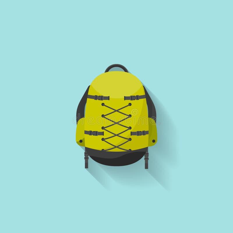Plecak w płaskim stzle również zwrócić corel ilustracji wektora tła torby błękitny latanie opuszczać klon szkoły Podróż, camping  royalty ilustracja