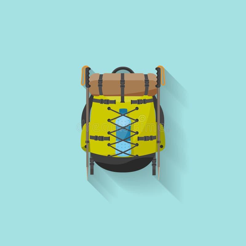 Plecak w płaskim stzle również zwrócić corel ilustracji wektora tła torby błękitny latanie opuszczać klon szkoły Podróż, camping  ilustracji