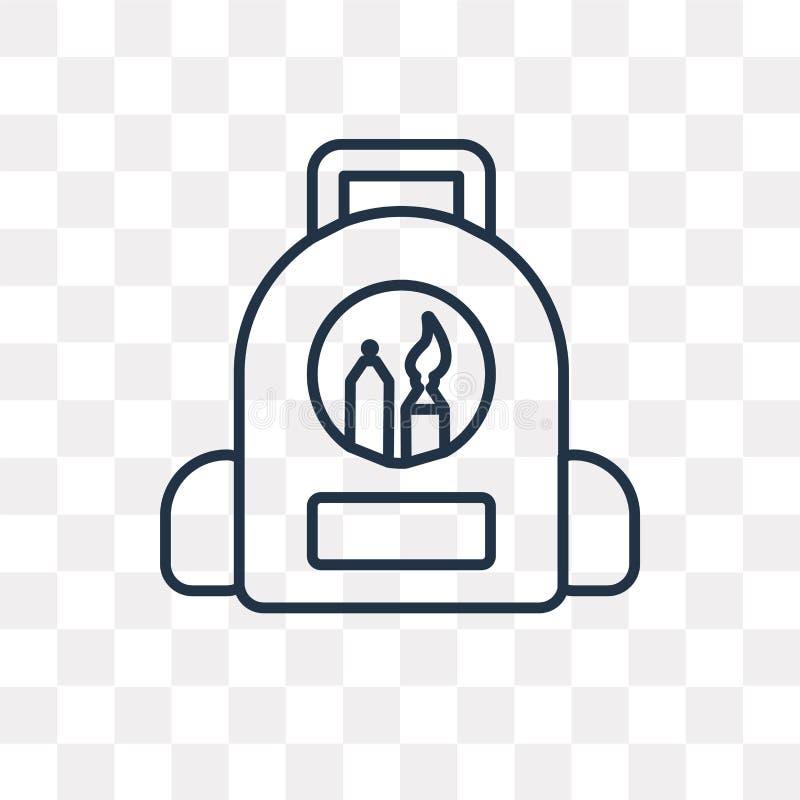 Plecak wektorowa ikona odizolowywająca na przejrzystym tle, liniowym ilustracji
