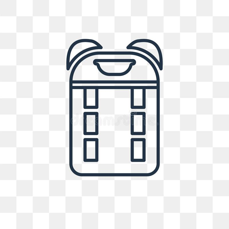 Plecak wektorowa ikona odizolowywająca na przejrzystym tle, liniowym ilustracja wektor
