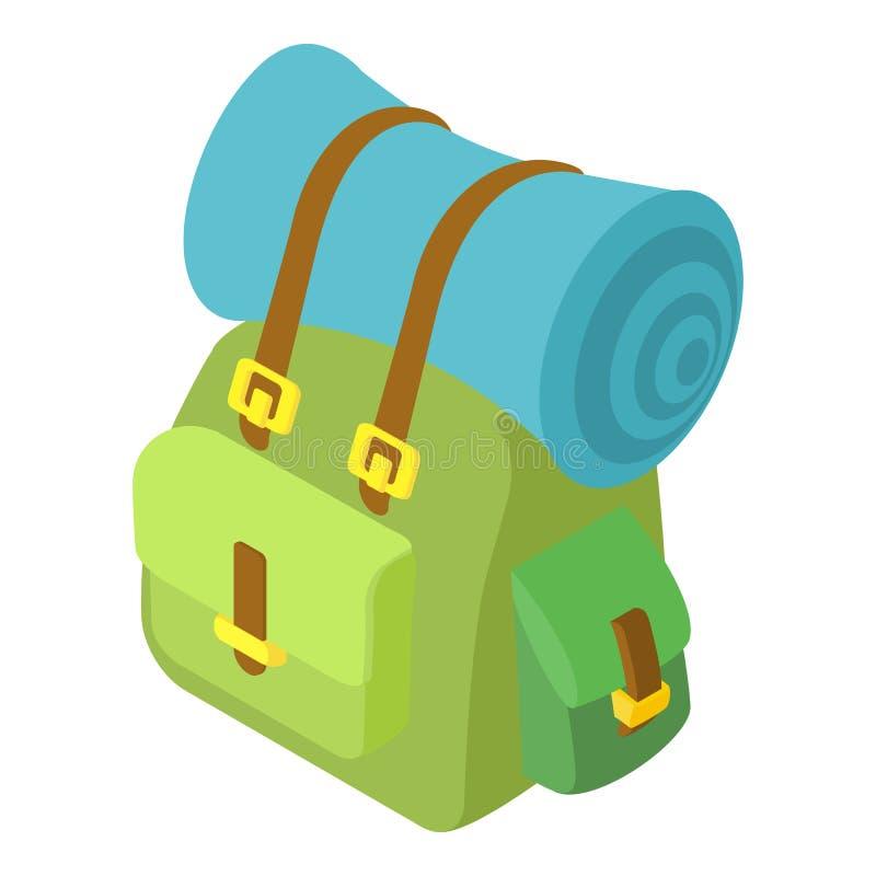 Plecak z matową ikoną, isometric 3d styl ilustracja wektor