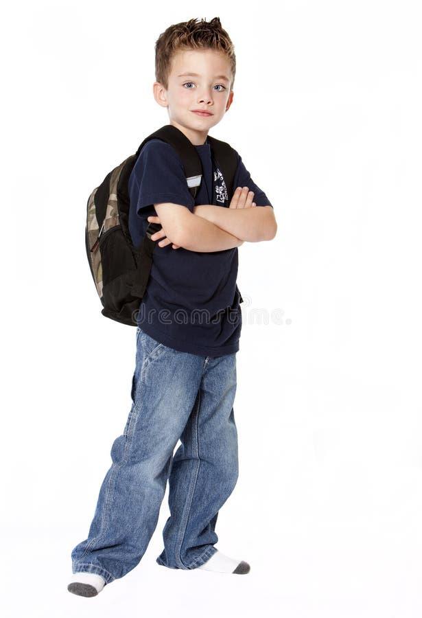 plecaka chłopiec potomstwa obrazy royalty free