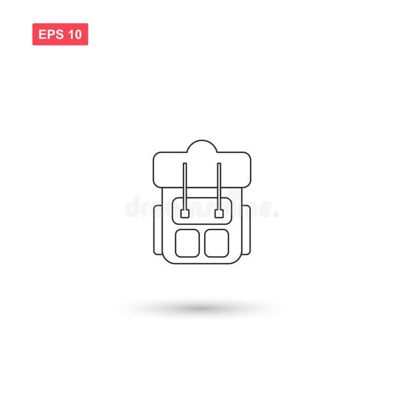Plecaka plecaka ikony wektorowy projekt odizolowywał 3 royalty ilustracja