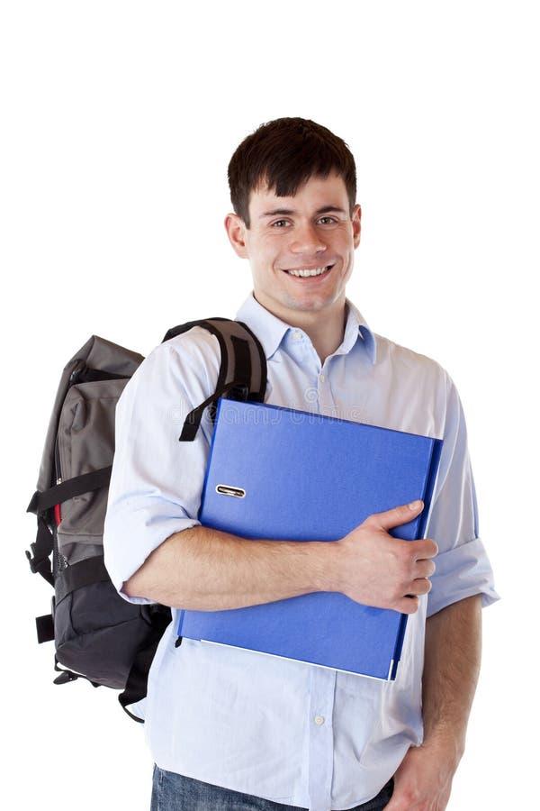 plecaka skoroszytowi szczęśliwi męskiego ucznia potomstwa fotografia stock