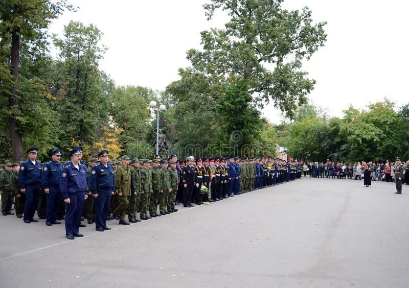 Plechtige bouw in de Eerste militaire school van Moskou stock afbeelding