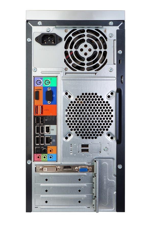 Plecy komputer stacjonarny z płytą główną. fotografia stock
