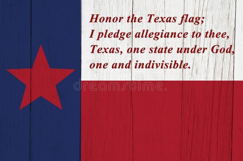 Pledge of allegiance to the Texas state flag. Pledge of allegiance  to the Texas state flag on weathered wood royalty free illustration