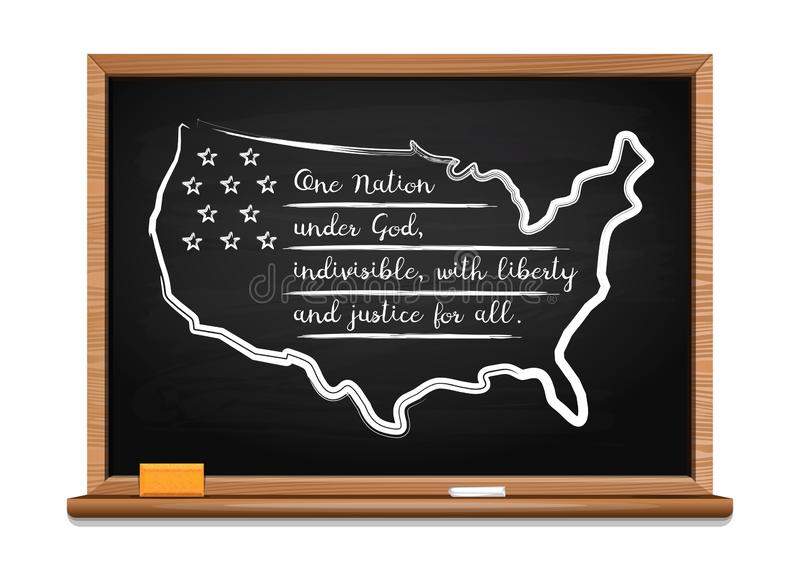 The Pledge of Allegiance of the United States. Words US oath of allegiance written in chalk on a blackboard. Map and stylized USA flag. Pledge of Allegiance of vector illustration