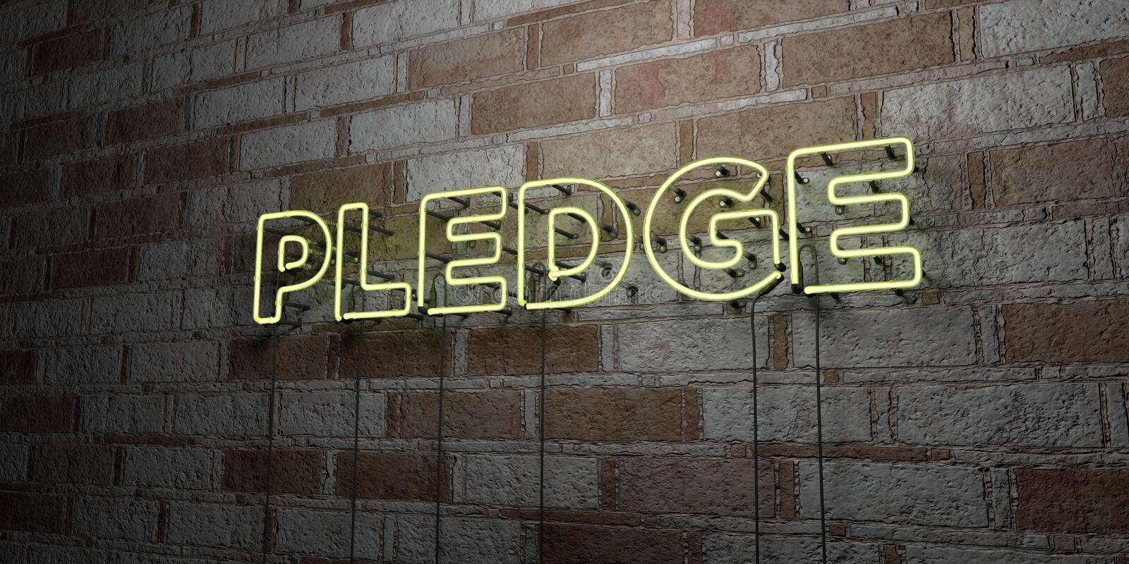 PLEDGE - Glowing Neon Sign on stonework wall - 3D rendered royalty free stock illustration. Can be used for online banner ads and direct mailers royalty free illustration