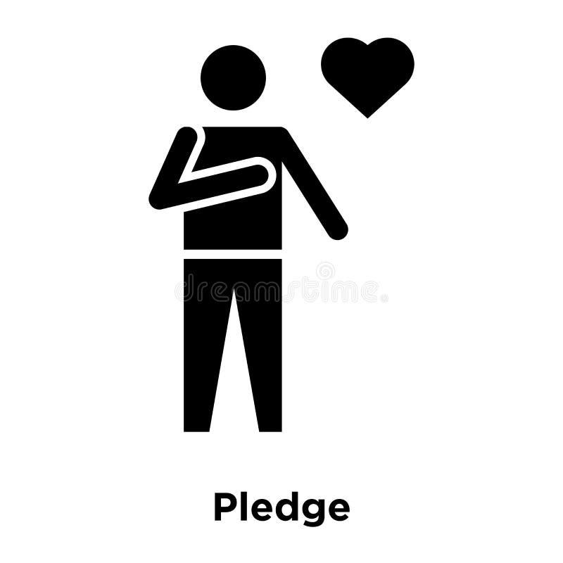 Pledge icon vector isolated on white background, logo concept of. Pledge sign on transparent background, filled black symbol stock illustration