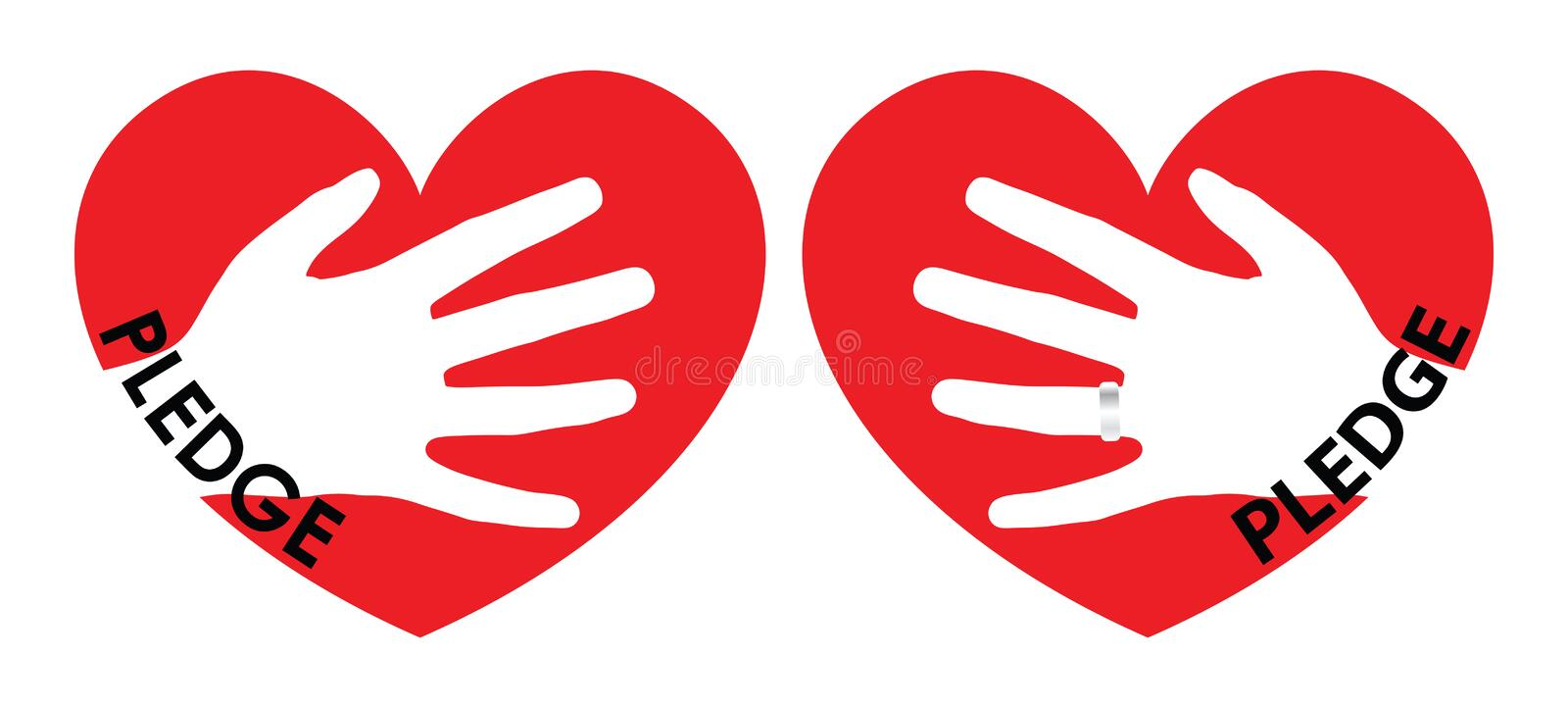 Pledge of Love Illustration. Hand over the heart. A ring is worn over forth finger of the left hand royalty free illustration