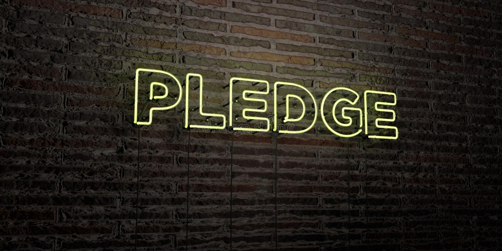 PLEDGE -Realistic Neon Sign on Brick Wall background - 3D rendered royalty free stock image. Can be used for online banner ads and direct mailers royalty free illustration