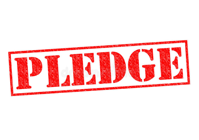 PLEDGE. Red Rubber Stamp over a white background vector illustration