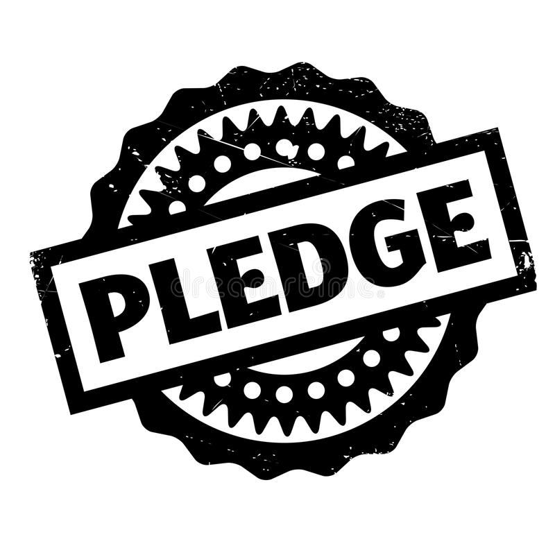 Pledge rubber stamp. Grunge design with dust scratches. Effects can be easily removed for a clean, crisp look. Color is easily changed stock illustration