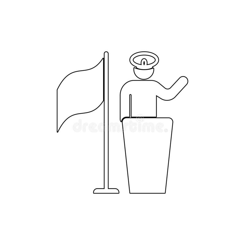 Pledge, soldier, captain, flag outline icon. Can be used for web, logo, mobile app, UI UX. On white background royalty free illustration