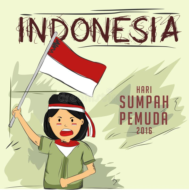 Pledge of youth. As one of the history's heap that reflects the dynamics of national life which is imbued by the values of Pancasila is manifested in the pledge royalty free illustration