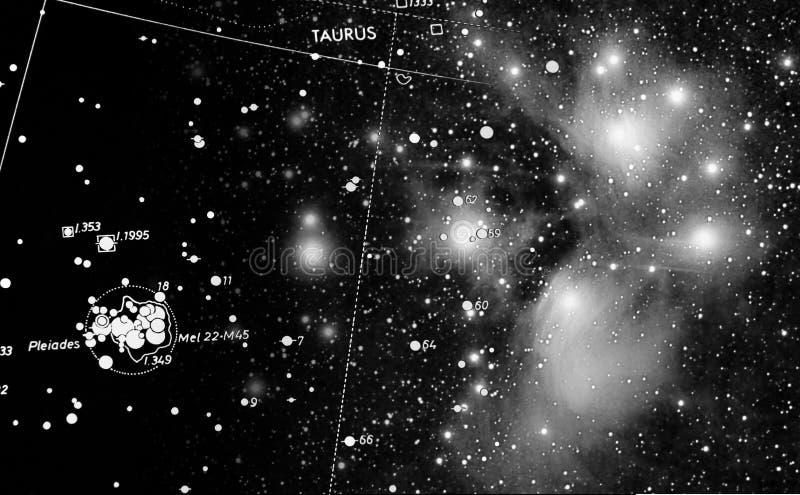 Pleiades e mappa immagine stock