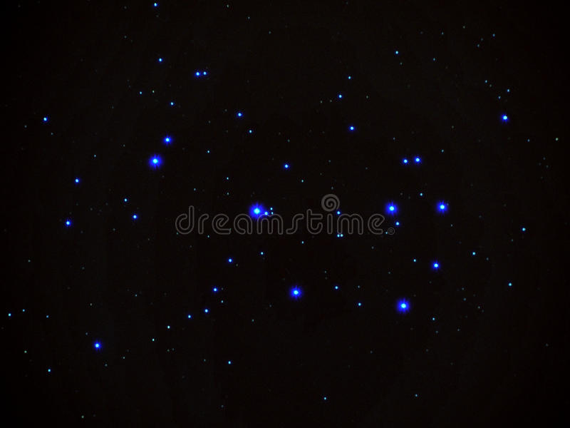Universe stars, Pleiades opern cluster M45 in night sky stock photos