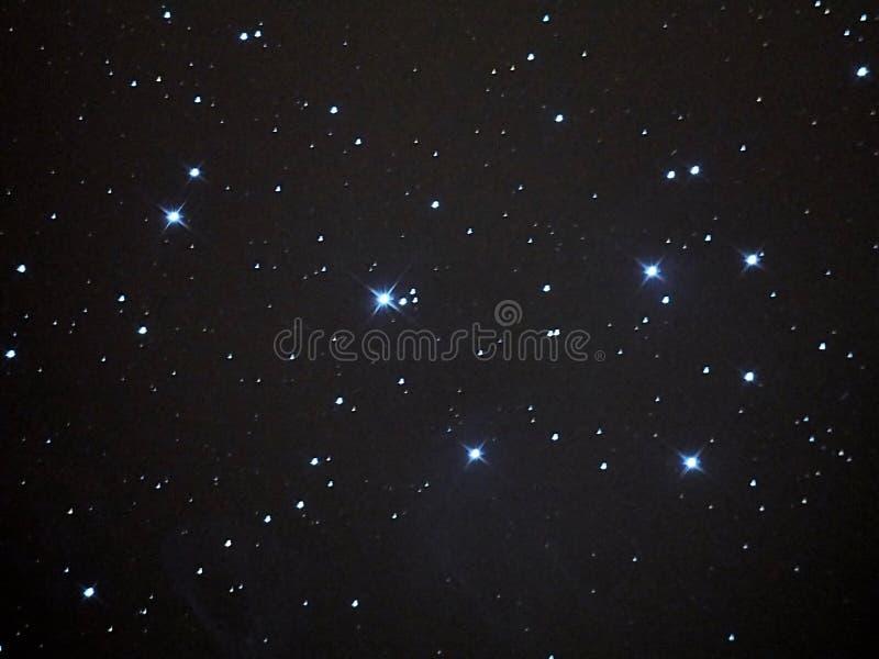 Universe stars, Pleiades opern cluster M45 in night sky stock image