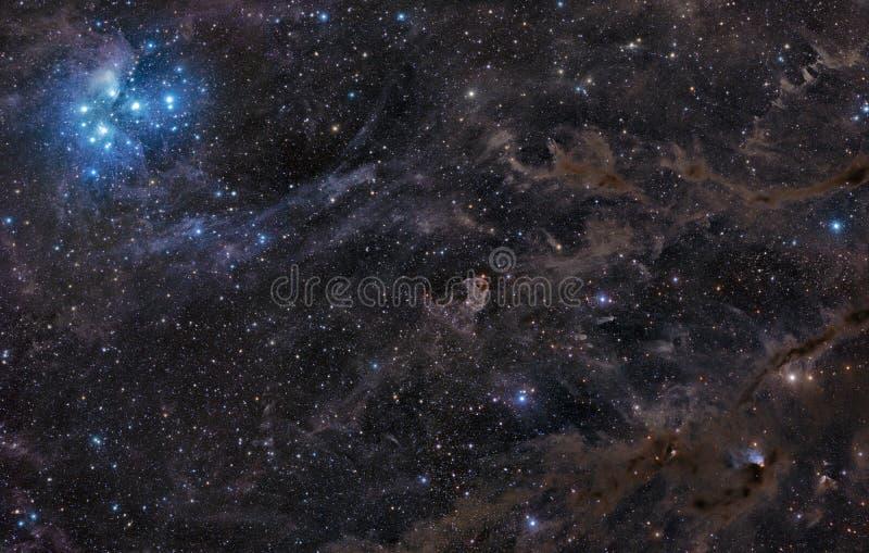 Pleiades Nebelfleck in umgebendem Staub lizenzfreies stockbild