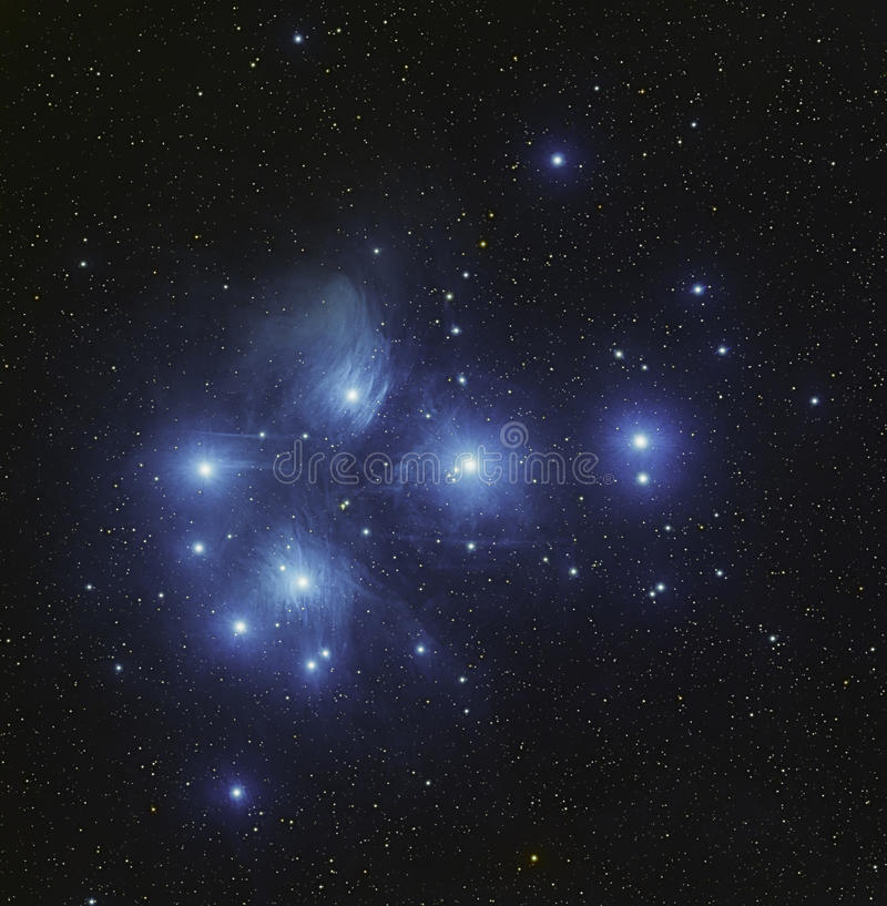 Pleiadescluster M45 in Stier stock foto