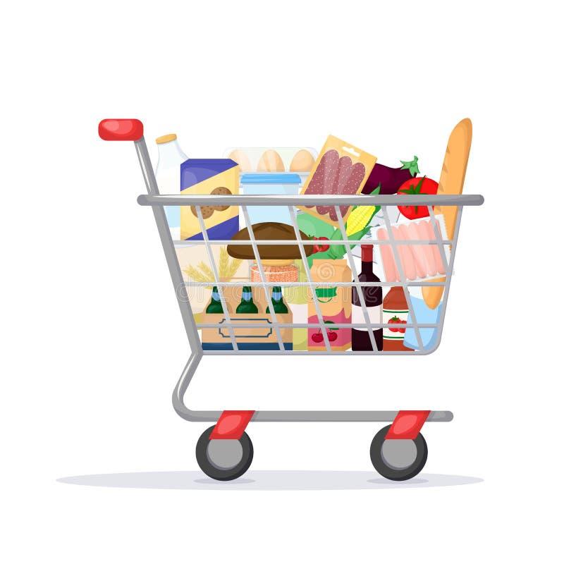 Plein caddie Magasin de nourriture, supermarché Placez du produit frais, sain et naturel Vecteur photo libre de droits