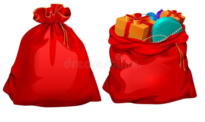 Plein cadeau ouvert et sac fermé de rouge du père noël illustration de vecteur