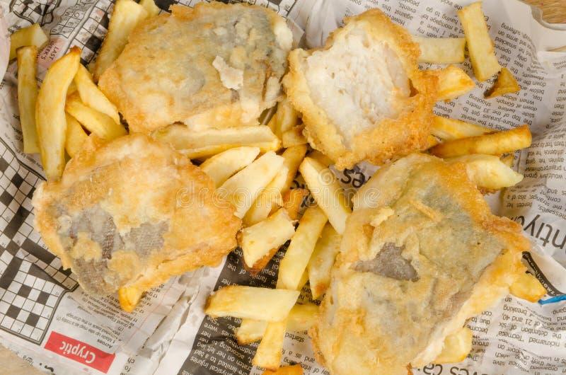 Plein cadre de poisson-frites images stock