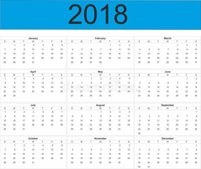 Plein calendrier de l'année 2018 illustration de vecteur