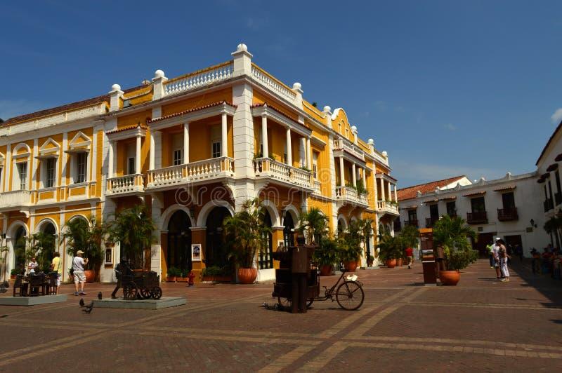 Plein in Cartagena, Colombia stock foto's