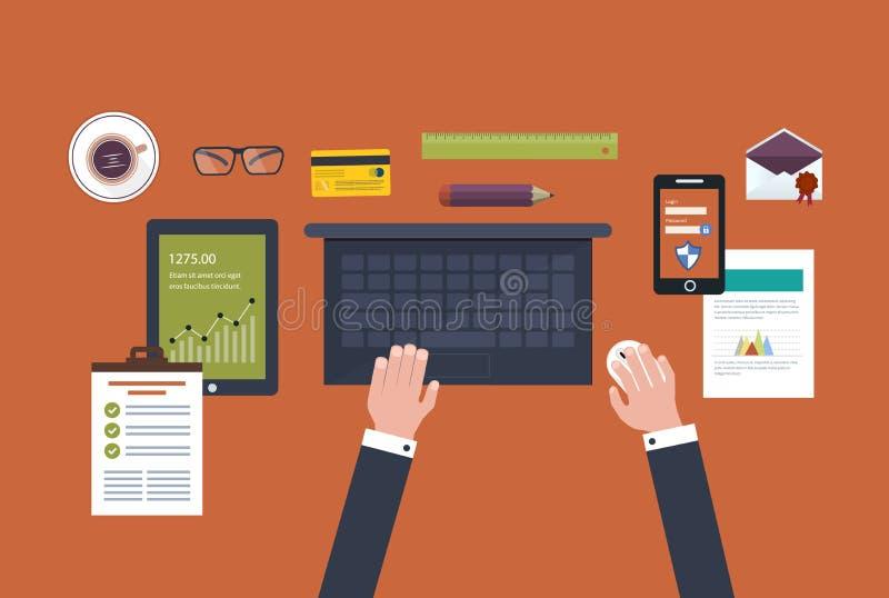 Plein cercle de commerce électronique de concept illustration de vecteur