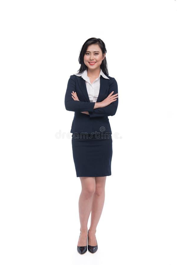 Plein corps d'une jeune femme d'affaires attirante d'isolement sur le blanc photographie stock libre de droits
