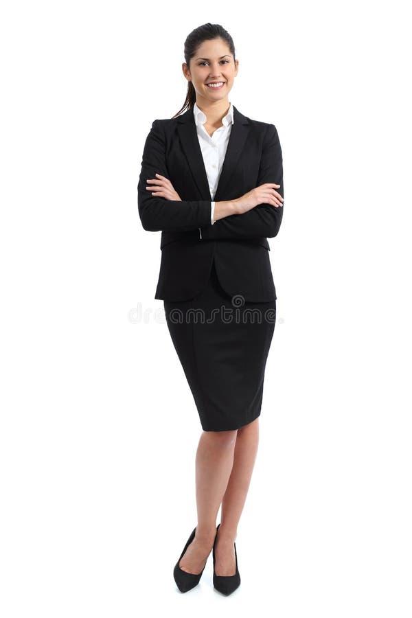 Plein corps d'une position de femme d'affaires images stock