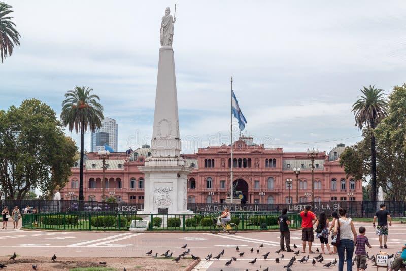 Plein DE Mayo Casa Rosada Facade Argentina royalty-vrije stock foto's