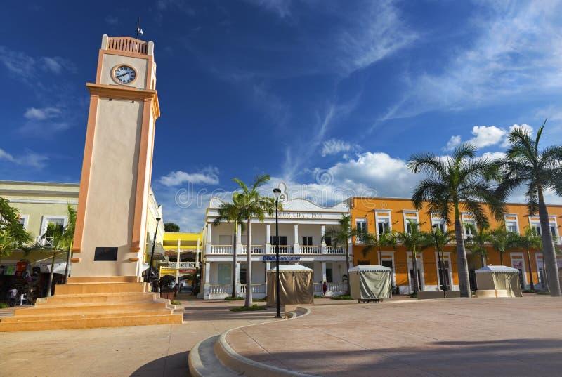 Plein Del Sol Town Square Tower Clock San Van de binnenstad Miguel De Cozumel Mexico stock foto