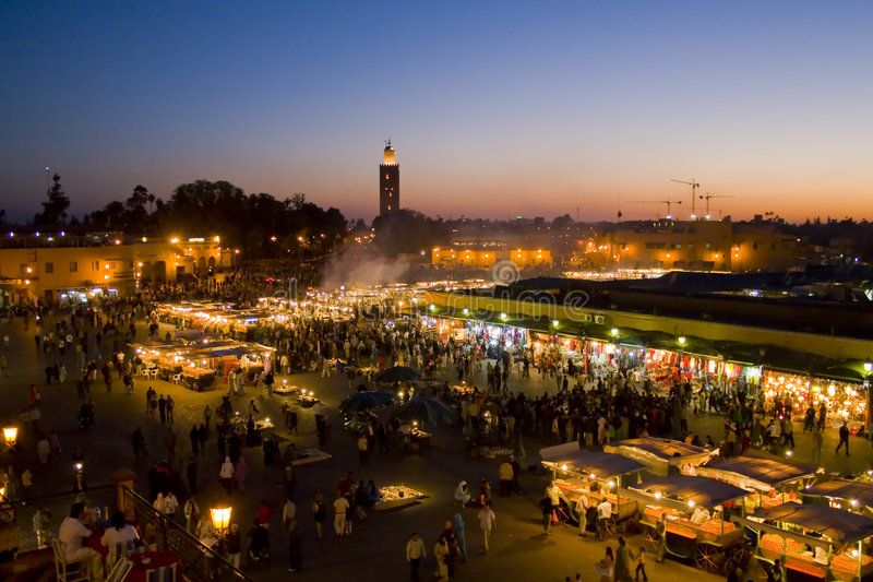 Plein Djem Gr Fnaa Marrakech stock afbeeldingen