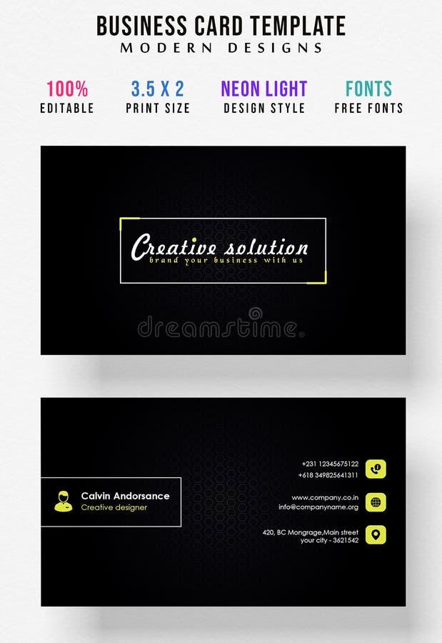 Plein editable de couleur de design de carte lumineux minimal d'affaires illustration libre de droits