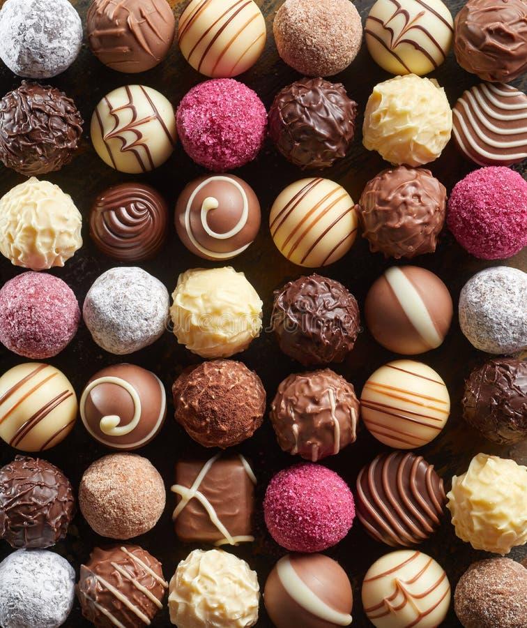 Plein fond de cadre des chocolats gastronomes image libre de droits