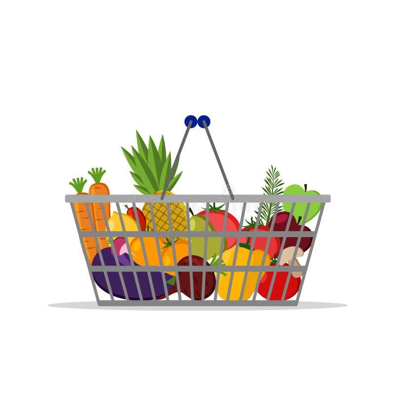 Plein panier avec la nourriture saine différente Fruits et légumes Panier à provisions de supermarché Icône plate de vecteur Pour illustration de vecteur