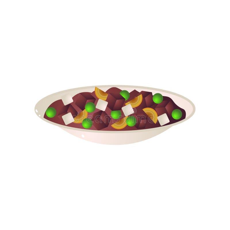 Plein plat de plat de vegan avec les pois et les haricots illustration libre de droits