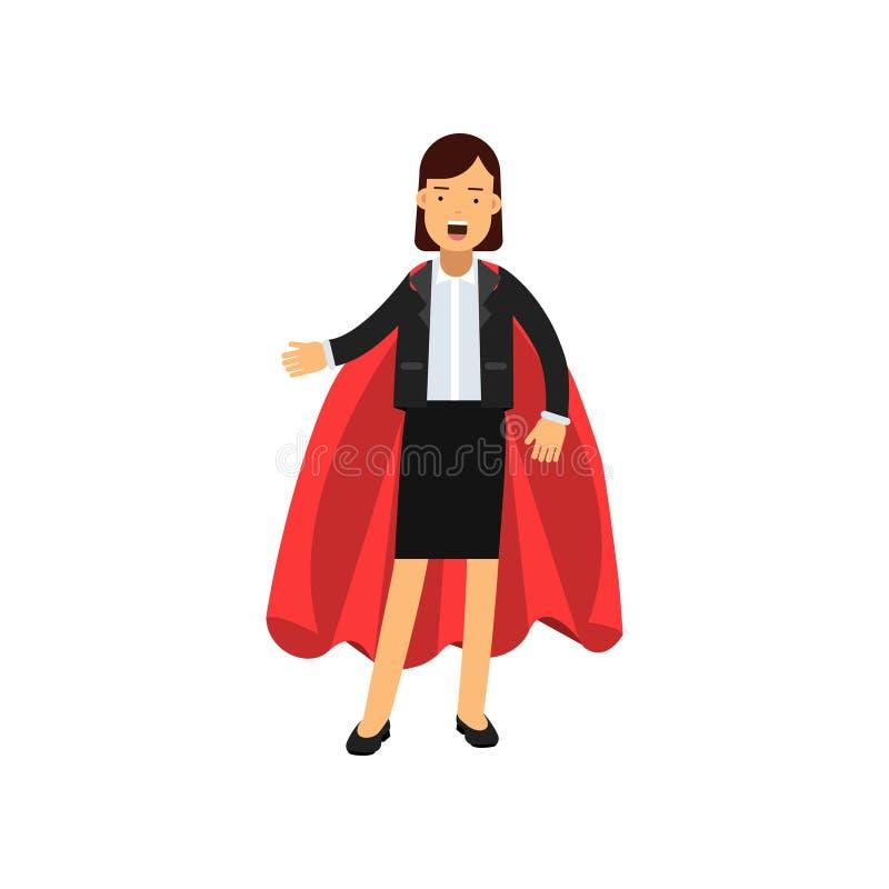 Plein portrait de corps de femme d'affaires avec le cap rouge de super héros Dame réussie dans le costume de jupe classique Femel illustration libre de droits