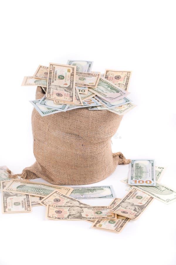Plein sac avec des billets d'un dollar image stock