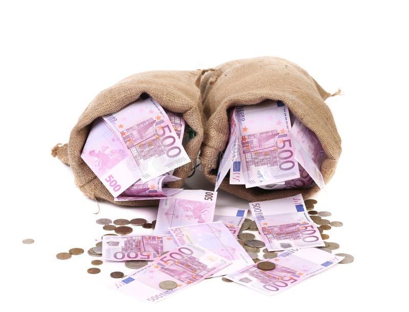 Plein sac deux avec l'argent. images libres de droits