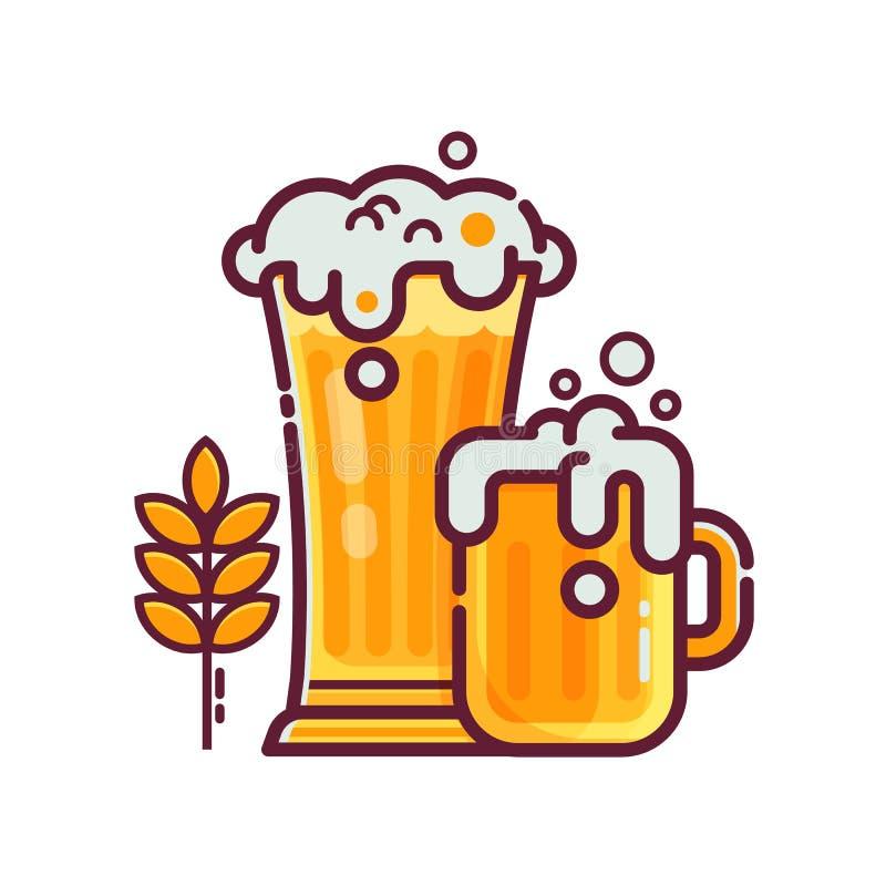 Plein verre de bière avec la mousse illustration stock